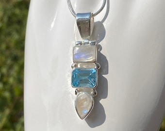 Sky Blue Topaz and Rainbow Moonstone Gemstone Pendant Necklace Handcrafted in Sterling Silver, June December Birthstone Necklace