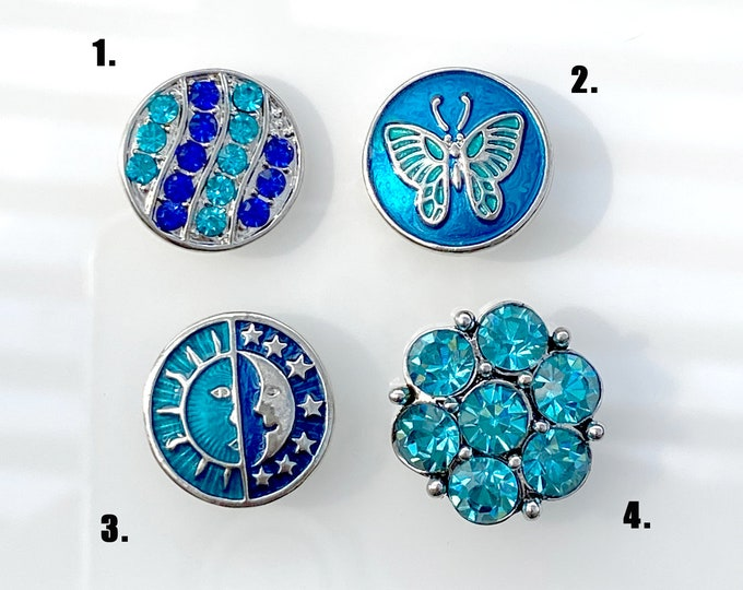 Blue Crystal, Butterfly, Sun and Moon and Blue Rhinestone SNAP snap button jewelry charms - chunk buttons - ginger snap jewelry