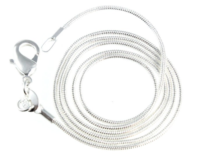 16, 18, 20, 22, 24 inch Quality Snake Chain with Sturdy Lobster Clasp Silver Plated for Necklaces and Pendants