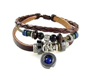 Multi Strand Leather CHOOSE CHARM Zen Bracelet Quality Hand Made Beaded Wrap Bracelet, Men, Women, Teens, Teenager, Boys, Girls, Unisex