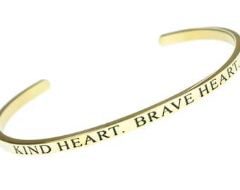 Engraved Inspirational Bracelet - Kind Heart. Brave Heart - Inspiring Mindfulness Message for Men, Women, Teen, Boys and Girls Gift