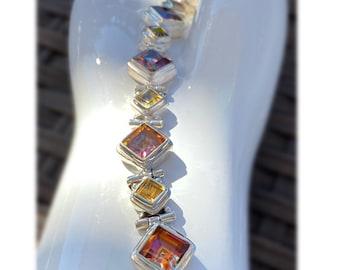 "Square-Cut Mystic Topaz Sunrise Orange Fire and Citrine Gemstone Bracelet Sterling Silver Adjustable Loops 7"" to 8.5"" Medium to Plus"