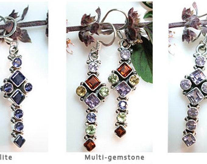2 Inch Long Gemstone 925 Sterling Silver Dangle Earrings. Choose Garnet, Iolite, Multi, Amethyst or Peridot Gemstones, Birthstone Earrings
