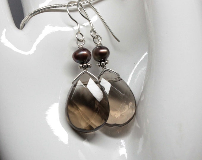 Smoky Topaz and Chocolate Pearl Dangle Gemstone Earrings, Faceted Pear Cut Smoky Topaz Sterling Silver Earwire Women Jewelry
