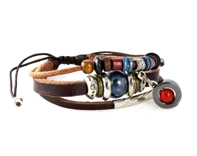 Beaded Multi Strand Zen Bracelet, Genuine Leather Quality Hand Made with Our Unique Adjustable Drawstrings, Men, Women, Teens, Boys, Girls