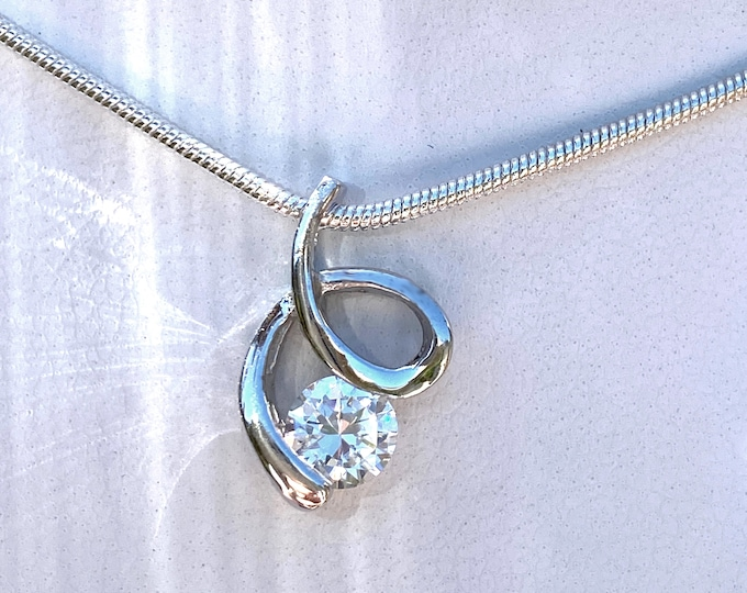 """1 Carat CZ Sterling Silver Solitaire Swirl Cubic Zirconia Pendant Comes with 16"""" or 18"""" SP Necklace Chain for Wedding, Birthday, Bridesmaids"""