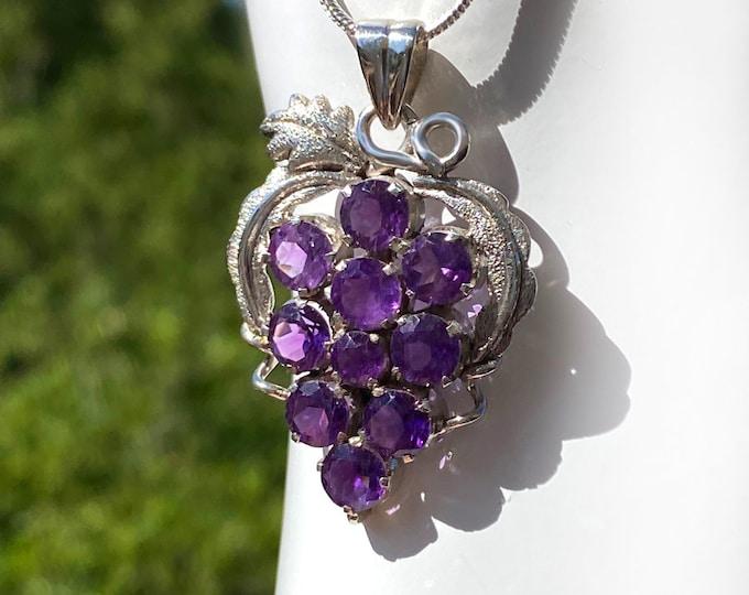 Amethyst Grape Cluster Pendant Necklace, Sterling Silver, February Birthstone, 6th Anniversary Gemstone, Wine Jewelry, Designer Pendant