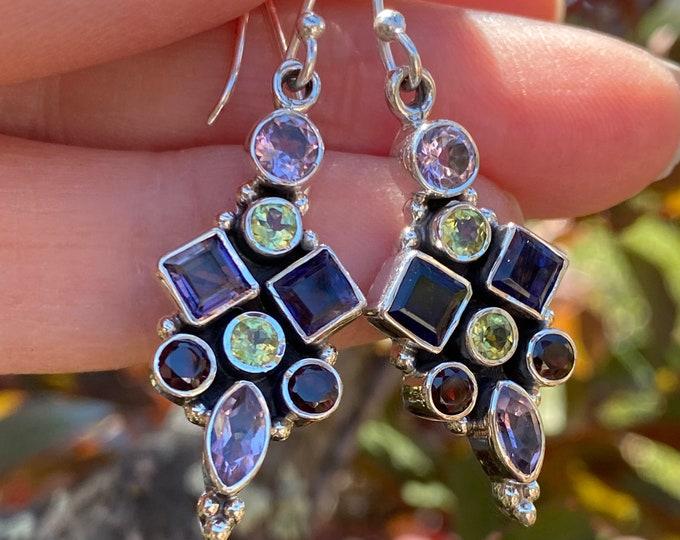Amethyst, Iolite, Garnet, Peridot, Garnet Faceted Birthstone Gemstone Earrings 925 Sterling Silver Exclusively from Beautiful Silver Jewelry