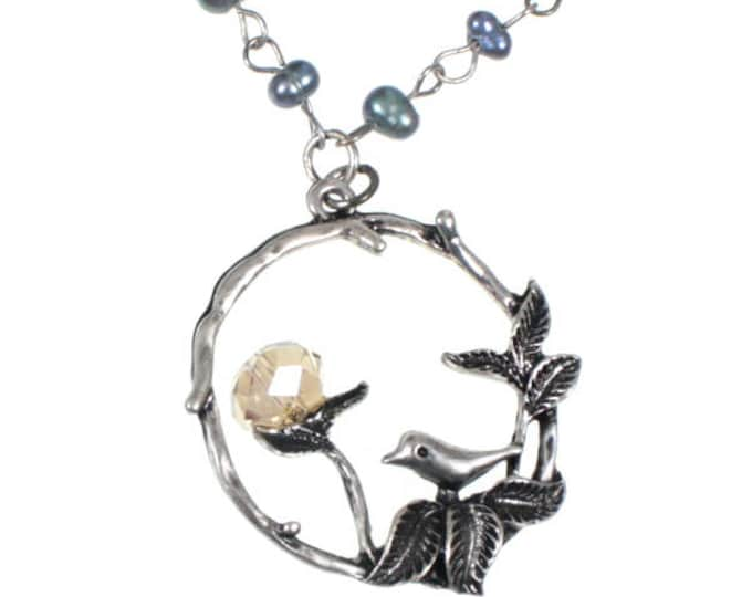 """Super Cute Bird Pendant Necklace on 16"""" Freshwater Pearl Chain with Extender"""