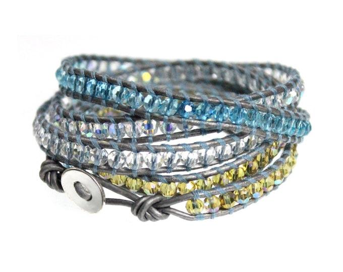 Aqua Blue Silver Leather 5x Wrap Bracelet, Adjustable Loops, Quality Handmade Cuff Wrap Bracelet in Butter Soft Leather