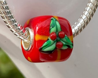 Holly Leaf Red Cube Gift Bead Charm, Sterling Silver Interior Slide On Bead For European Style Snake Chain Charm Bracelets, Save on More