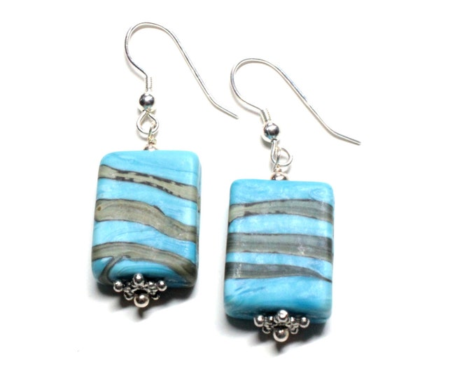 Turquoise Blue and Gray Ceramic Bead Dangle Earrings Sterling Silver for Women, Teens, Exclusively from Beautiful Silver Jewelry