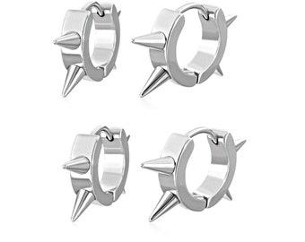 Pointy Spike Stud Huggie Hoop Earrings in Quality Stainless Steel, 2 Pair, Four Earrings for Men, Women, Unisex Post Earrings