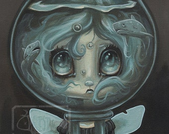 Fairy girl shark lowbrow misfit fantasy art print big eye pop surreal - Fairy 10