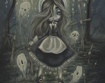 Ghost and witch lowbrow art print Among the Sticks
