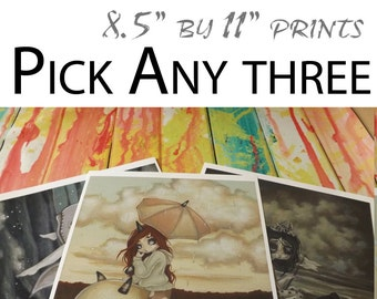 "Pick Any Three 8.5""x11"" lowbrow art prints by WhiteStag"