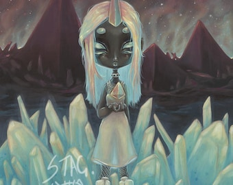 Cosmic Prism -alien witch Lowbrow pop surreal print painting