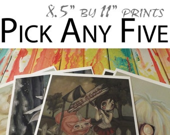 "Pick Any Five 8.5""x11"" lowbrow art prints by WhiteStag"