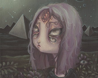 Cosmic Witch Alien Girl-Lowbrow pop surreal print painting