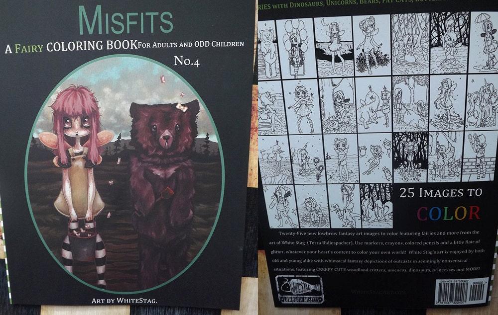 FAIRY Coloring Book Misfits Fantasy Lowbrow Art Big Eye Girls