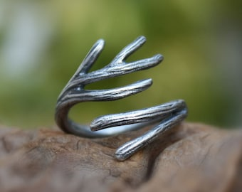Branch ring sterling silver,twig ring,adjustable.