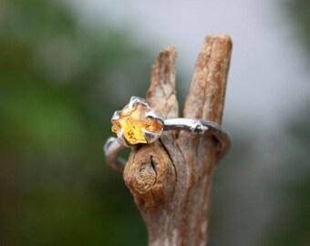 Citrine gemstone ring branch ring-sterling silver-handmade rough stone-raw uncut-November birthstone ring-made to order.