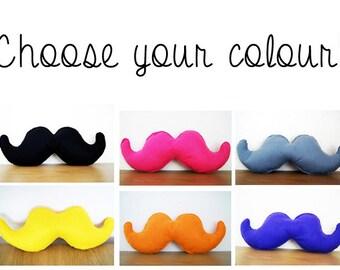 Choose Your Colour Felt Moustache Cushion, Mustache Cushion, Mancave Decor, Gift For Man, Geek Gift, Novelty Gift, Beard Cushion, Beard Gift