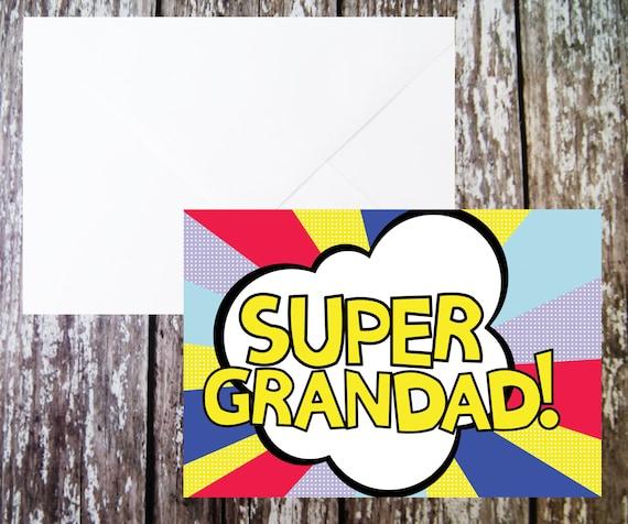 Super Opa Karte Grossvater Geburtstag Karte Karte Von Kids Etsy