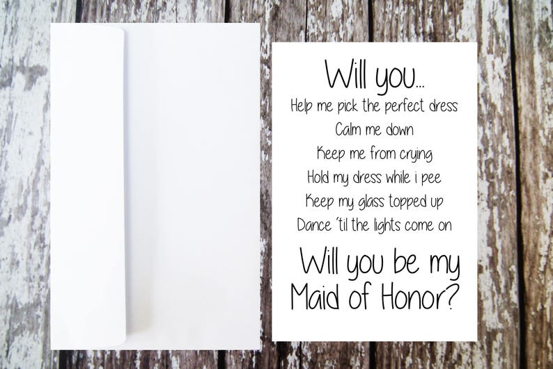Will you be my Maid of Honor Card Maid of Honor Proposal image 0