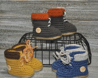 Crochet Baby Boots Builder Boots Construction worker boots Cute Baby Boots Unisex Baby Boots Crib Shoes Baby Shower Gifts Bob The Builder