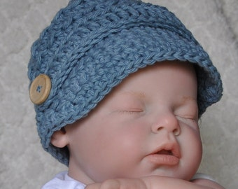 Cotton Baby Hat News Boy Hat in size 0 to 6 months