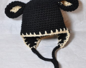 Sheep Baby Hat with earflaps, Black Lamb Hat  size 6-12 Months