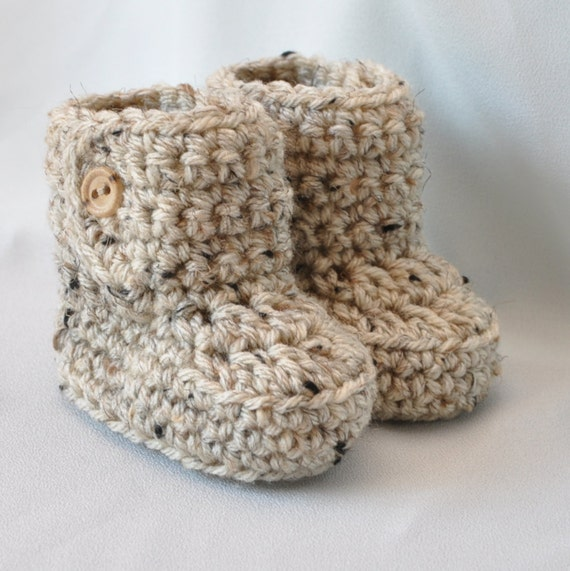 Baby Booties Crochet Baby Boots With Button Top Size 0 To 6 Etsy