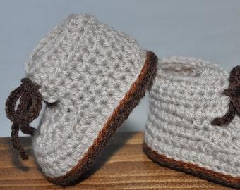 Crochet Baby Booties, Baby Hiking Boots, Tie Baby Booties
