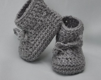 Wool Baby Booties -Booties that Stay On in Gray wool, Baby Blue wool and Dusty Blue wool