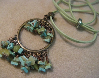212 Turquoise Magnesite and New Jade Magic, Necklace and Earrings