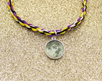 Nonbinary Flag, Rope Bracelet, Moon Charm, Friendship Bracelet, Nonbinary Pride, Adjustable Anklet, LGBT Pride Jewelry, Queer Pride Month