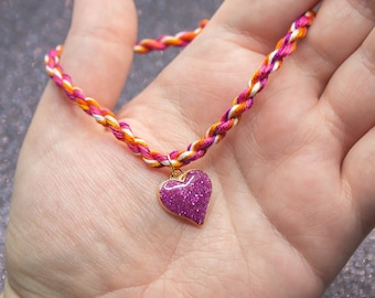 Sunset Lesbian Flag, Pink Glitter Heart Charm, Rope Bracelet, Lesbian Pride, LGBT Pride Bracelet, Unique Gift for Her, Queer Pride Month