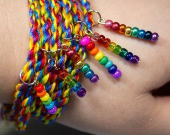 Rainbow Bracelet, Beaded Pendant, LGBTQ Pride Bracelet, Adjustable Anklet, Gay Pride Month, Queer Pride Bracelet, LGBT Pride Month