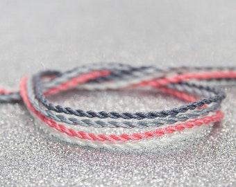Demigirl Flag Twist Bracelet Set, LGBTQ Pride Friendship Bracelet, Adjustable Anklet, Demigirl Jewelry, Queer Pride, Unique Gift for Her
