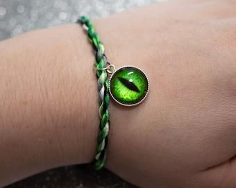 Aromantic Flag Bracelet with Green Dragon Eye Charm, LGBT Pride Adjustable Anklet, Aromantic Pride Jewelry, Queer Pride Month, Aroace Pride