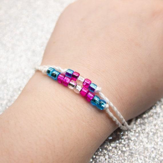 glass pearl bracelet wrap bracelet dragonfly memory wire bracelet Trans pride bracelet LGBT pride bracelet beaded bracelet Boho