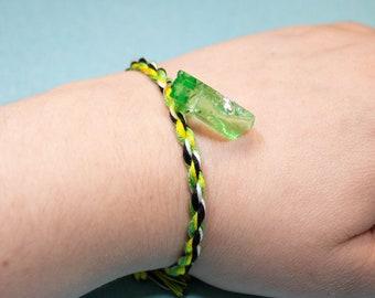 Metagender Pride, Friendship Bracelet, Green Crystal Charm, LGBT Pride Bracelet, Unique Gift, Metagender Flag, Adjustable Anklet, Queer