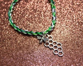 Aromantic Flag Bracelet with Bee and Honeycomb Charm, LGBT Pride Adjustable Anklet, Aromantic Pride, Aroace Pride, Queer Pride Month