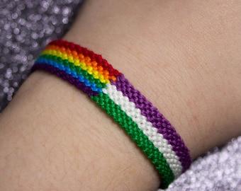 Rainbow Flag, Genderqueer Flag, Friendship Bracelet, LGBT Pride Bracelet, Unique Gift for Best Friend, Queer Pride Month, Gay Flag