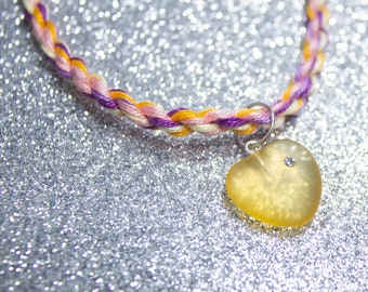 Trixic Flag Friendship Bracelet with Yellow Sea Glass Heart Charm, LGBT Pride Adjustable Anklet, Unique Gift for Her, Queer Pride Month