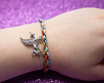 Queer Flag, Friendship Bracelet, Alicorn Charm, LGBT Pride Bracelet, Pastel Rainbow, Adjustable Anklet, Queer Pride Month, Unique Gift