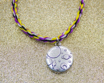 Nonbinary Flag, Planets Charm, Space Charm, Saturn, Friendship Bracelet, Nonbinary Pride, Adjustable Anklet, LGBT Pride, Queer Pride Month