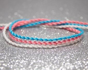 Trans Flag Twist Bracelet Set, LGBTQ Pride Friendship Bracelet, Pink White Blue, Adjustable Ankle Bracelet, Transgender Pride Jewelry, Boho