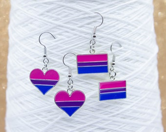 Bisexual Pride Earrings - Unique Gift for Her - Fun Dangle Earrings - Birthday Gift - Heart Shape or Flag Shape - Bisexual Flag - LGBT Pride